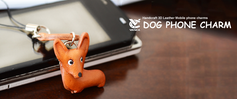 handcrafted leather dog phone charm