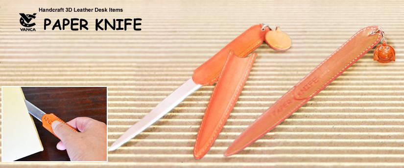 handcrafted leather desk item paper knife
