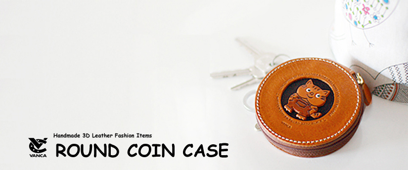 handcrafted leather round coin case