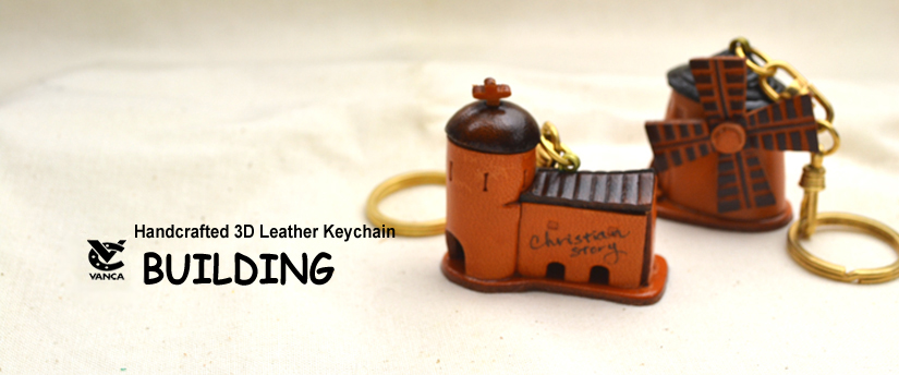 handcrafted leather keychain Building