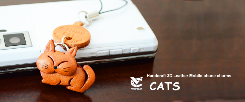 handcrafted leather cats phone charm