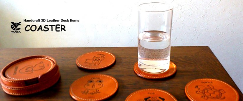 handcrafted leather desk item coaster
