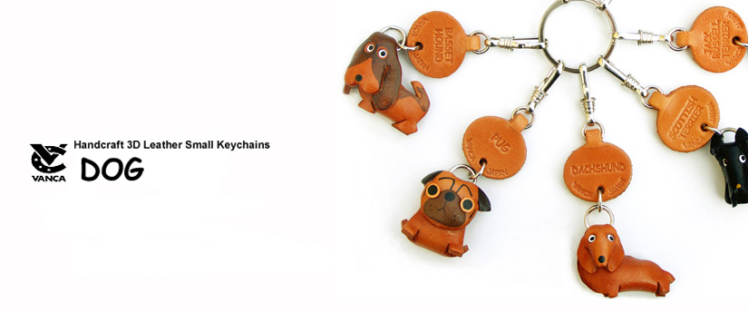handcrafted leather dog keychain