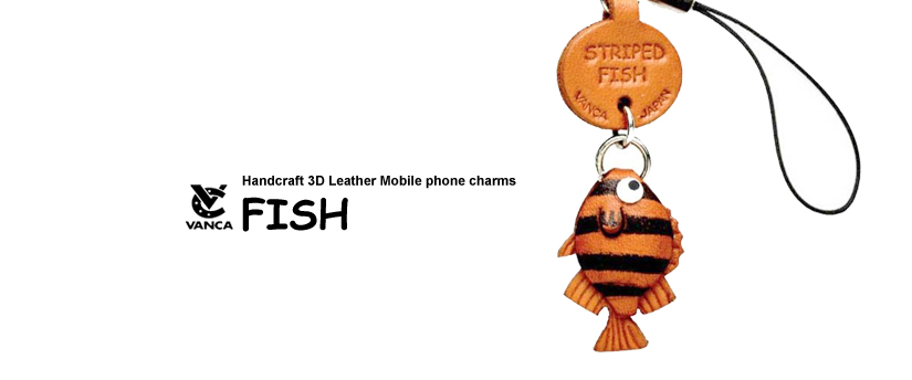 handcrafted leather fish phone charm