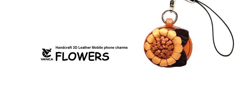 handcrafted leather flower phone charm