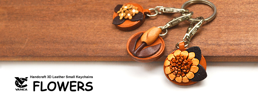 handcrafted leather flower keychain