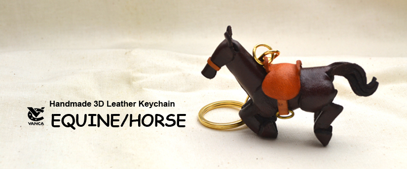 handcrafted leather keychain equine/horse