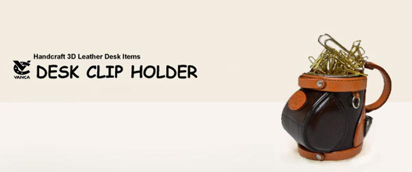 handcrafted leather desk item desk clip holder