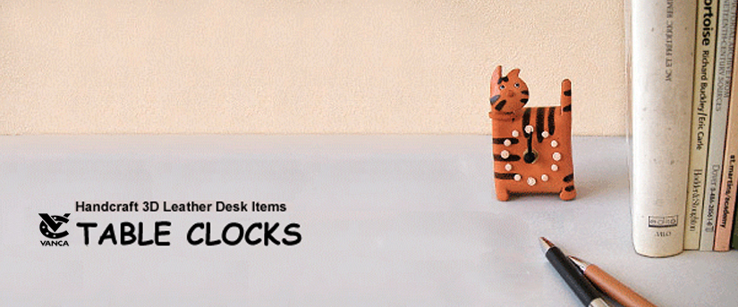 handcrafted leather desk item table clocks