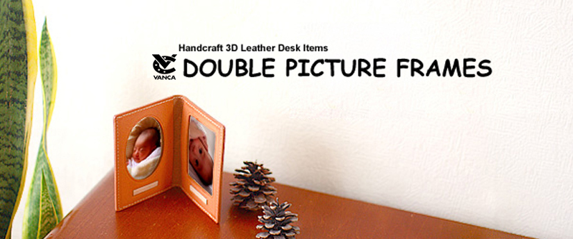 handcrafted leather desk item double picture frames