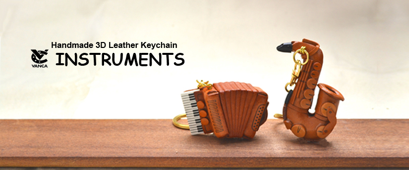 handcrafted leather keychain instruments