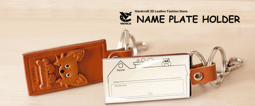 handcrafted leather desk item name plate holder