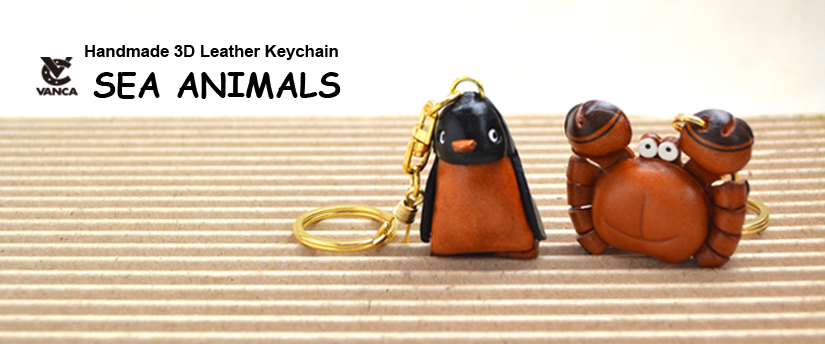 handcrafted leather keychain sea animals