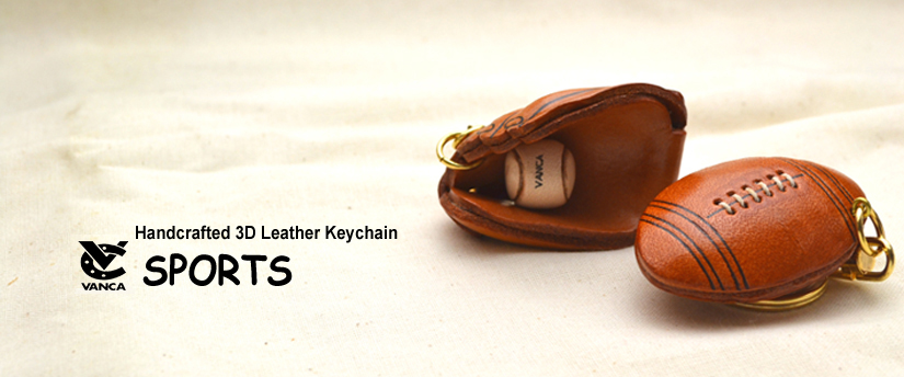 handcrafted leather keychain sports