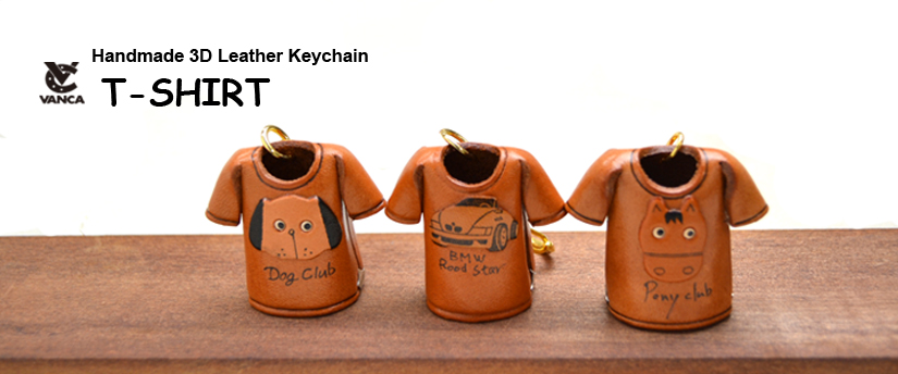 handcrafted leather keychain t-shirt