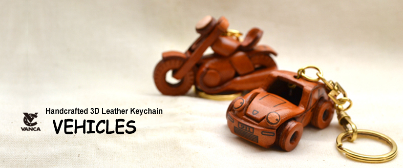 handcrafted leather keychain vehicle
