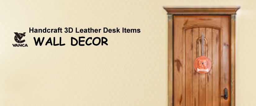 handcrafted leather desk item wall deco