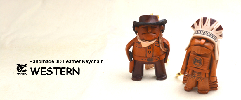 handcrafted leather keychain western
