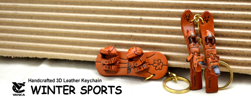 handcrafted leather keychain winter sports