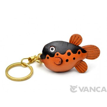 Globe/Blow/Puffer Fish Leather Keychain(L)