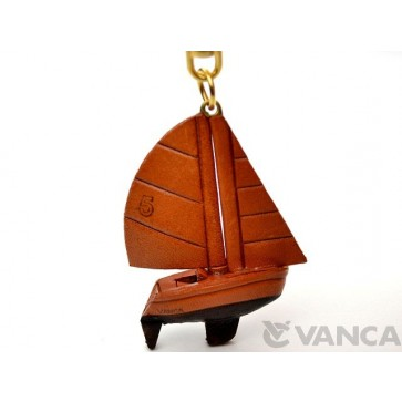 Sailboat Leather Keychain(L)