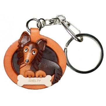 Shetland Sheepdog Leather Dog plate Keychain