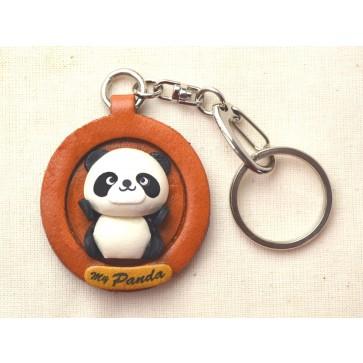 Panda Japanese Leather Plate Keychain