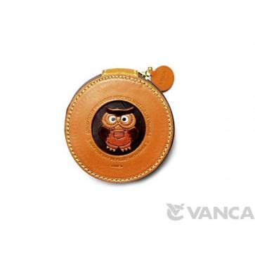 Owl Handmade Genuine Leather Animal Round Coin case #26191