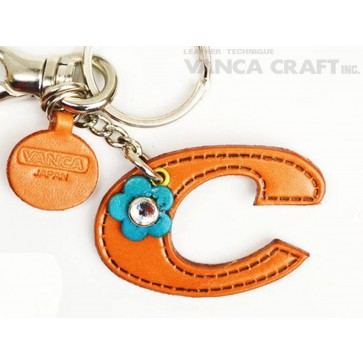 "Initial  ""C"" Leather Keychain Bag Charm"