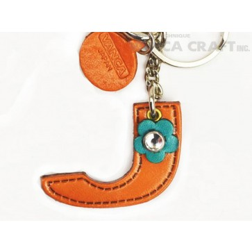 "Initial  ""J"" Leather Keychain Bag Charm"