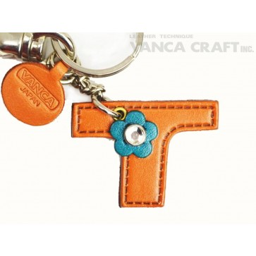 """Initial  """"T"""" Leather Keychain Bag Charm"""
