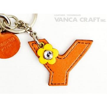 """Initial  """"Y"""" Leather Keychain Bag Charm"""