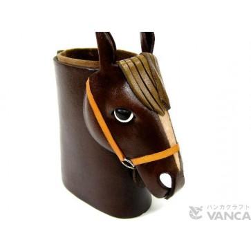 Horse Head Black Brown Handmade Leather Eyeglasses Holder/Stand #26229