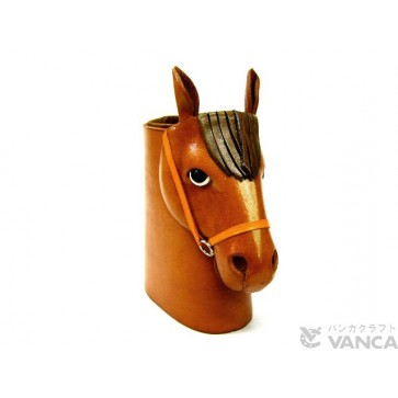 Horse Head Camel Brown Handmade Leather Eyeglasses Holder/Stand #26208