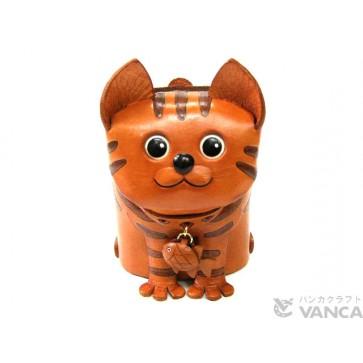 Tabby Cat Handmade Leather Eyeglasses Holder/Stand #26202