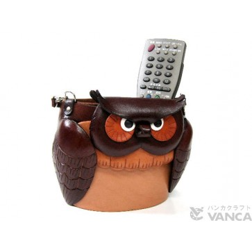 Dual Eyeglasses Holder Big Owl Handmade Leather