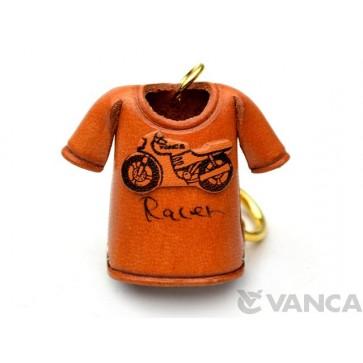 Racer Bike T-shirt Leather Keychain