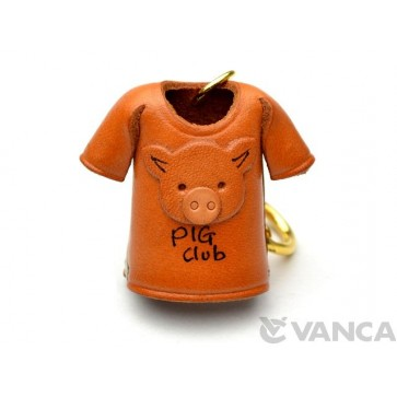 Pig T-shirt Leather Keychain