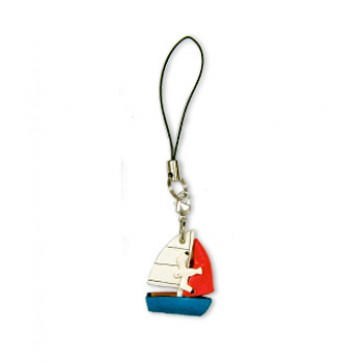 Sail Boat Leather cellular phone Charm