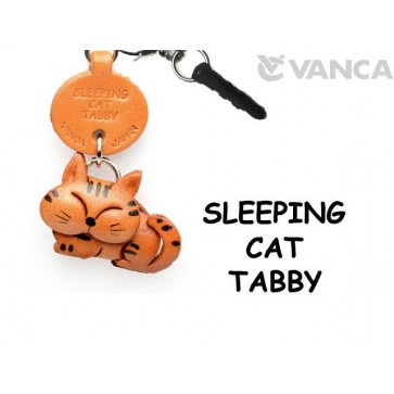 Tabby Sleeping Cat Leather Earphone Jack Accessory #47404