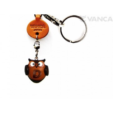Initial Owl D Leather Animal Keychain