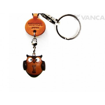 Initial Owl I Leather Animal Keychain