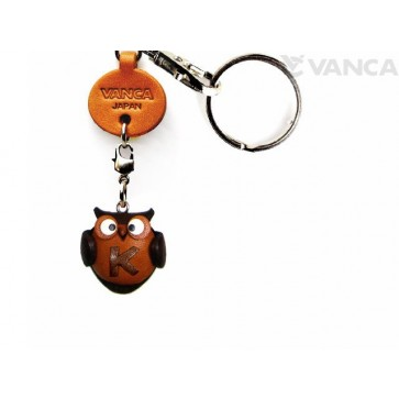 Initial Owl K Leather Animal Keychain