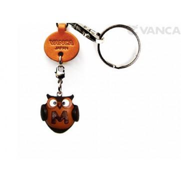 Initial Owl M Leather Animal Keychain