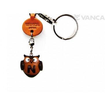 Initial Owl N Leather Animal Keychain