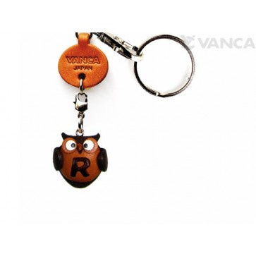 Initial Owl R Leather Animal Keychain