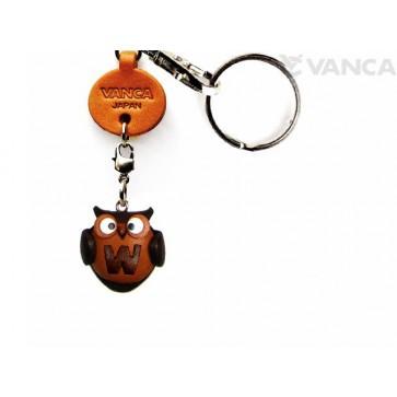 Initial Owl W Leather Animal Keychain