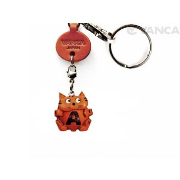 Initial Cat A Leather Animal Keychain