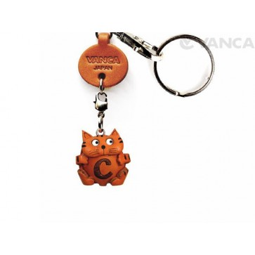 Initial Cat C Leather Animal Keychain