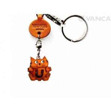 Initial Cat U Leather Animal Keychain